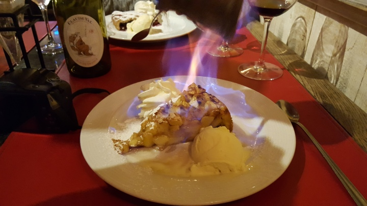 Apple pie with Calvados flambe
